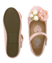 One Friday Pearl & Flower Applique Belly Shoes For Girls - Pink