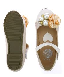 One Friday Pearl & Flower Applique Belly Shoes For Girls - Off White