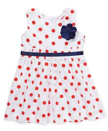 Babyhug Sleeveless Polka Dot Frock With Floral Applique - White & Red