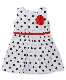 Babyhug Sleeveless Polka Dot Frock With Floral Applique - White & Navy