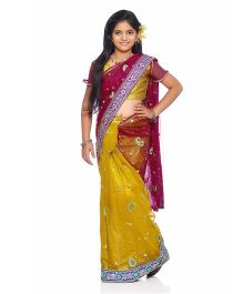 Bhartiya Paridhan Traditional Designer Stitched Saree With Blouse - Yellow Pink