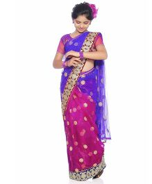 Bhartiya Paridhan Traditional Designer Stitched Saree With Blouse - Purple Pink