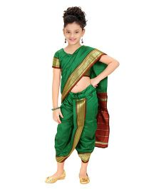 Bhartiya Paridhan Stitched Traditional Nauvari Saree With Stitched Blouse - Green