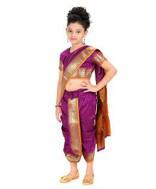 Bhartiya Paridhan Stitched Traditional Nauvari Saree With Stitched Blouse - Purple