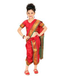 Bhartiya Paridhan Stitched Traditional Nauvari Saree With Stitched Blouse - Red