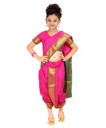 Bhartiya Paridhan Stitched Traditional Nauvari Saree With Stitched Blouse - Pink