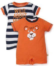 ToffyHouse Half Sleeves Striped And Solid Color Combination Set Of 2 Rompers - Rust & Navy