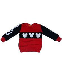 Tickles 4 U Cartoon Applique Sweater - Red & Black