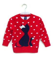 Tickles 4 U Cat Weave Sweater - Red
