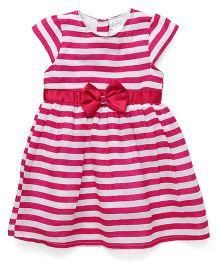 Babyhug Short Sleeves Striped Frock Bow Detail - Pink