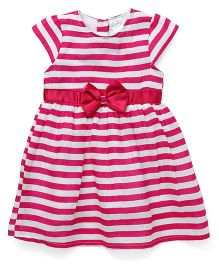 Babyhug Short Sleeves Striped Frock Bow Detail - Pink