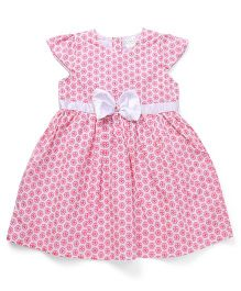 Babyhug Short Sleeves Floral Bow Frock - Pink