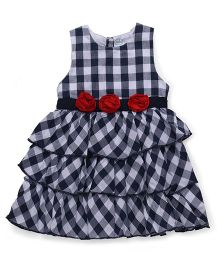 Babyhug Sleeveless Frock Checks Print - Black And White