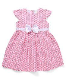 Babyhug Short Sleeves Floral Bow Frock - Pink