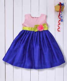 Pspeaches Flared Dupion Dress - Blue & Pink