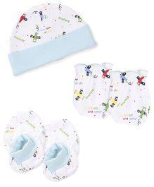 Babyhug Cap Mittens And Booties Set Airplane Print - White & Sky Blue