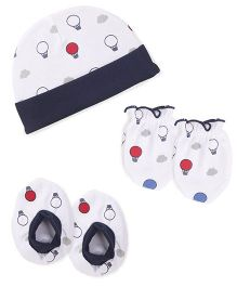 Babyhug Cap Mittens And Booties Set Parachute Print - White & Navy Blue