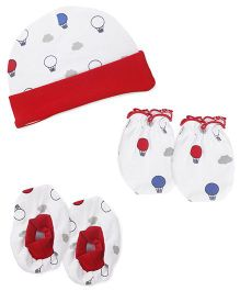 Babyhug Cap Mittens And Booties Set Parachute Print - White & Red