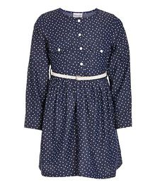 Bandbox Full Sleeves Frock With Belt Hearts Print - Blue