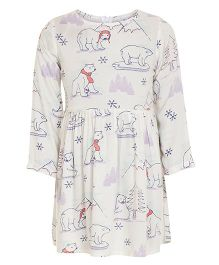Bandbox Full Sleeves Polar Bear Print Dress - Off White