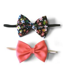 Knotty Ribbons Set Of Two Bow Hairband - Pink & Black