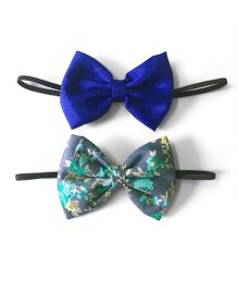 Knotty Ribbons Set Of Two Bow Hairband - Blue