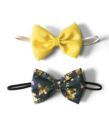 Knotty Ribbons Set Of Two Bow Hairband - Yellow