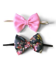 Knotty Ribbons Set Of Two Bow Hairband - Pink