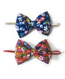Knotty Ribbons Set Of Two Floral Bow Hairband - Red & Blue