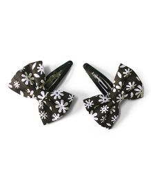 Knotty Ribbons Set Of Two Floral Bow Hair Clips - Black & White