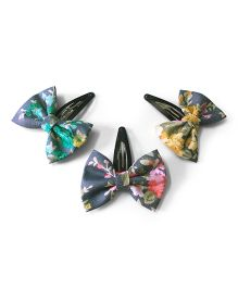 Knotty Ribbons Set Of Three Denim Bow Hair Clips - Grey & Multicolour