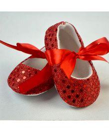 Dazzling Dolls Glittery Crib Shoes - Red