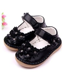 Dazzling Dolls Soft Leather Floral Shoes - Black