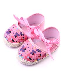 Dazzling Dolls Floral Crib Shoes - Pink