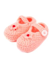 Dazzling Dolls Elegant Flower Applique Booties - Peach