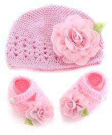 Dazzling Dolls Flower Applique Cap & Booties Set - Pink