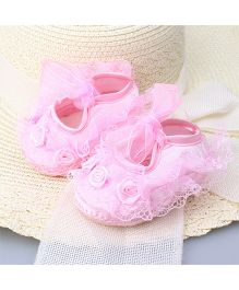 Dazzling Dolls Laced Flower Applique Party Shoes - Pink