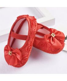 Dazzling Dolls Rosette Pre-Walkers With Bow - Red