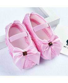 Dazzling Dolls Rosette Pre-Walkers With Bow - Pink