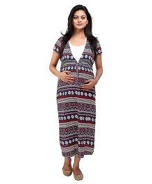 MomToBe Half Sleeves Printed Maternity Dress - White Blue