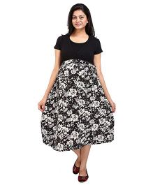 MomToBe Half Sleeves Maternity Dress Floral Print - Black Cream