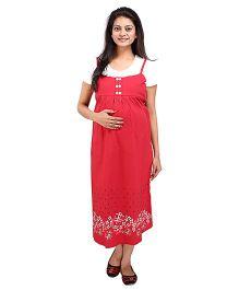 MomToBe Half Sleeves Printed Maternity Dress - Red White