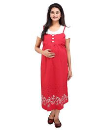 MomToBe Half Sleeves Printed Maternity Dress - Red White