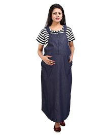 MomToBe Denim Maternity Dungaree Dress With Half Sleeves Inner Stripes T-Shirt - Blue