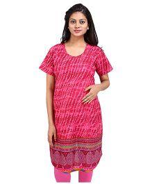 MomToBe Short Sleeves Printed Maternity Kurti - Pink