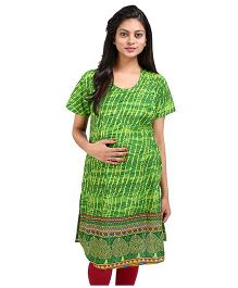 MomToBe Short Sleeves Printed Maternity Kurti - Green
