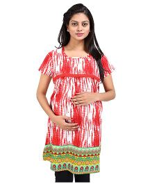 MomToBe Short Sleeves Printed Maternity Kurti - Red