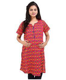 MomToBe Short Sleeves Multi Printed Maternity Kurti - Red