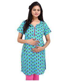 MomToBe Short Sleeves Multi Printed Maternity Kurti - Blue