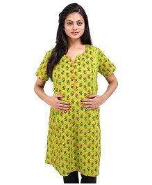 MomToBe Short Sleeves Multi Printed Maternity Kurti - Green